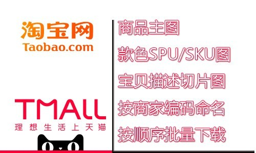 淘宝天猫主图SPU图宝贝描述切片图按照商家编码(款号/货号/SPU/SKU)命名批量下载
